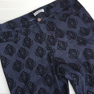 Coldwater Creek velvet flocked jeans